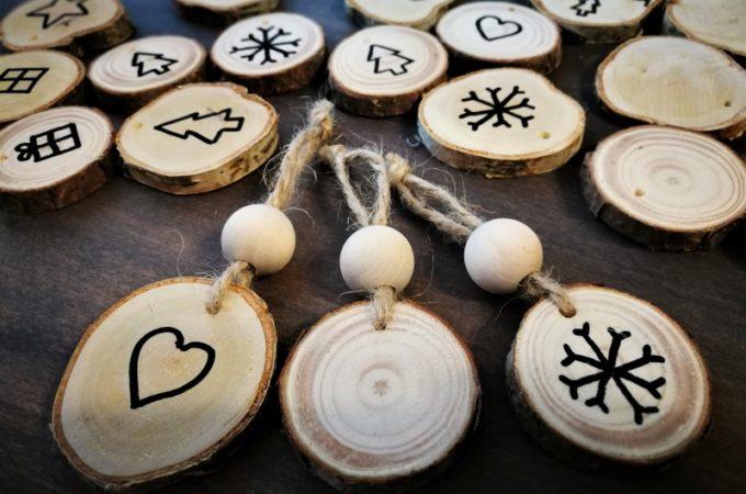 #świąteczneaktywności Drewniane bombki DIY