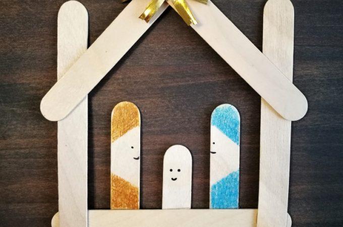 #świąteczneaktywności #prostezabawy Szopka z drewnianych patyczków