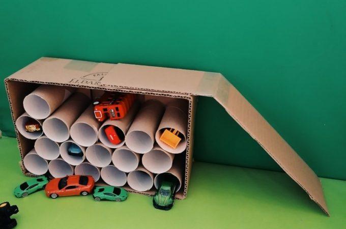 #prostezabawy Garaż dla resoraków z rolek po papierze toaletowym DIY